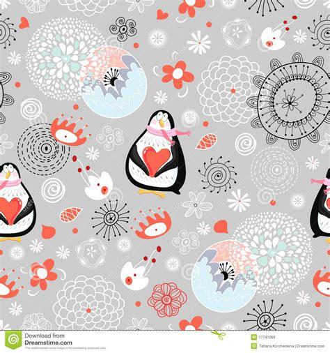 seamless pattern love seamless pattern love penguins stock vector image 17741069