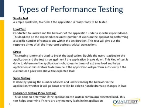 types of bench mark load and performance testing