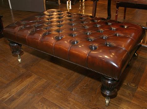 Small Leather Ottoman Coffee Table Tufted Leather Ottoman Coffee Table At 1stdibs