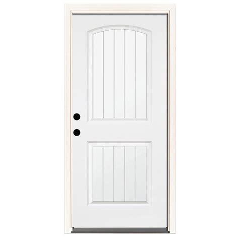 32 X 74 Exterior Door Steves Sons 32 In X 80 In Premium 2 Panel Plank Primed White Steel Prehung Front Door With