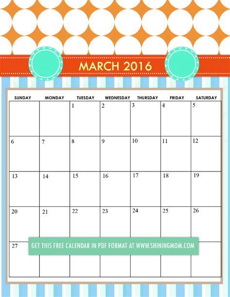 free printable cute planner 2016 free printable calendars for march 2016