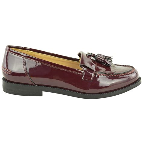 womens loafers with tassels womens flat casual office patent faux leather