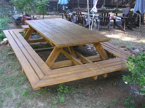 Custom made picnic tables large thru bolt by midcenturywoodshop
