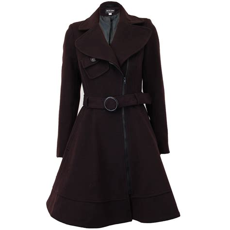Jaket Coat Wool Winter Musim Dingin coat womens jacket wool look belt trench warm winter new ebay