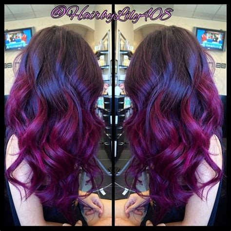 asian magenta highlight pink purple ombr 233 balayage and long layer haircut yelp