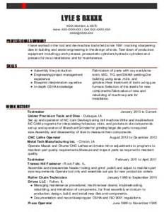 1 tool and die makers resume exles in bessemer al livecareer kevin hinkle resume