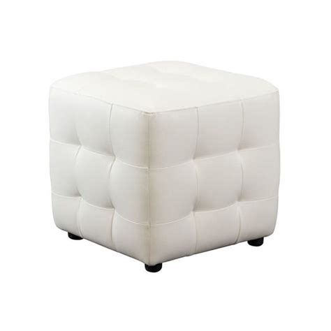White Tufted Ottoman Sofa Zen Leather Tufted Cube Accent Ottoman In White Zencowh