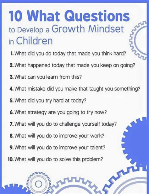 printable growth mindset questionnaire 10 questions to help children develop a growth mindset