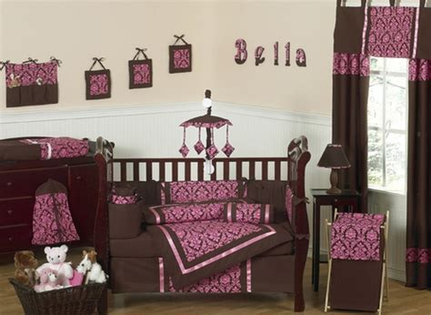 Bella Brown And Pink Baby Bedding 9 Pc Crib Set Only 69 99 Pink And Brown Damask Crib Bedding