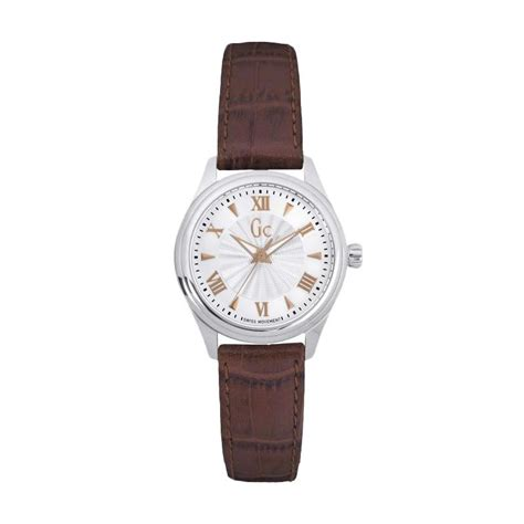 New Jam Tangan Gc Wanita Crono Dan Tanggal On Leater Putih jual guess collection gc y03006l1 leather jam tangan wanita brown silver harga