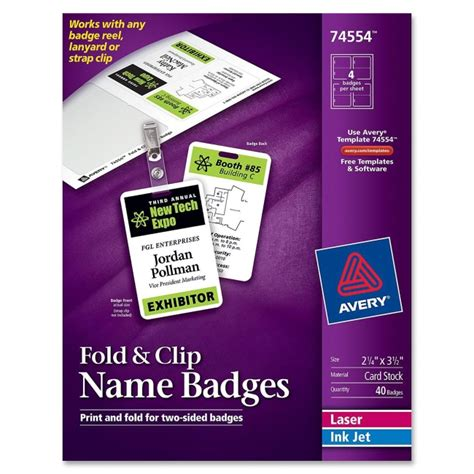 fold clip name badge avery 74554 avery forms