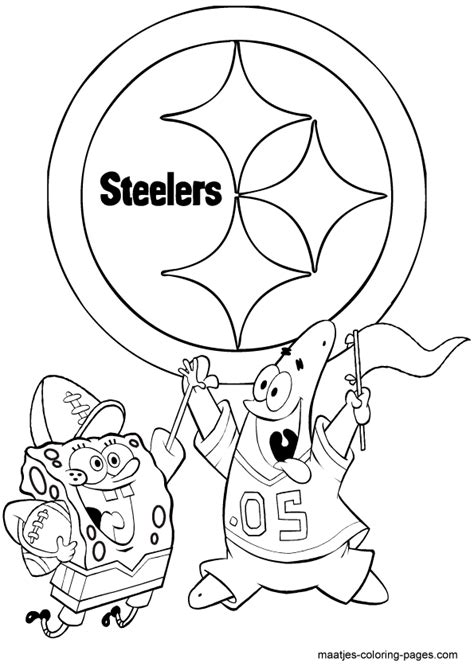 spongebob nfl coloring pages pittsburgh steelers spongebob playing football free