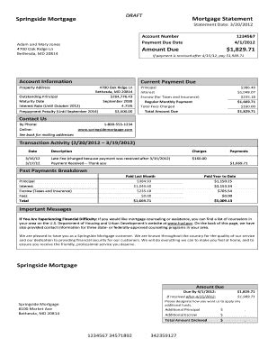 Template Mortgage Statement Fill Online Printable Fillable Blank Pdffiller Mortgage Invoice Template