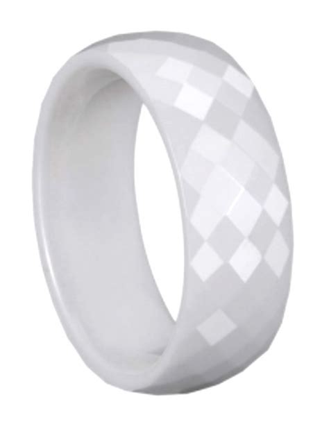 8mm faceted white ceramic wedding band comfort fit