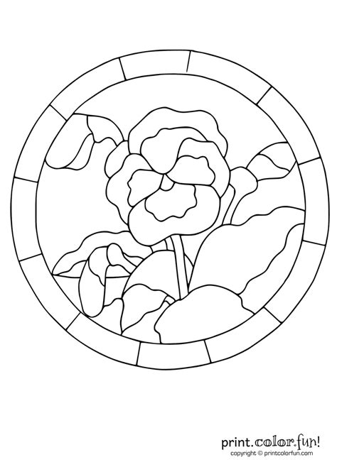 Stained glass pansy coloring page - Print. Color. Fun!