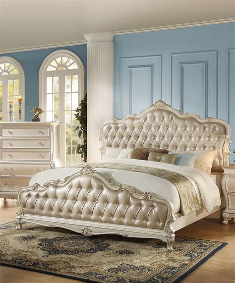 white tufted king bed acme chantelle king bed with button tufted panels in pearl