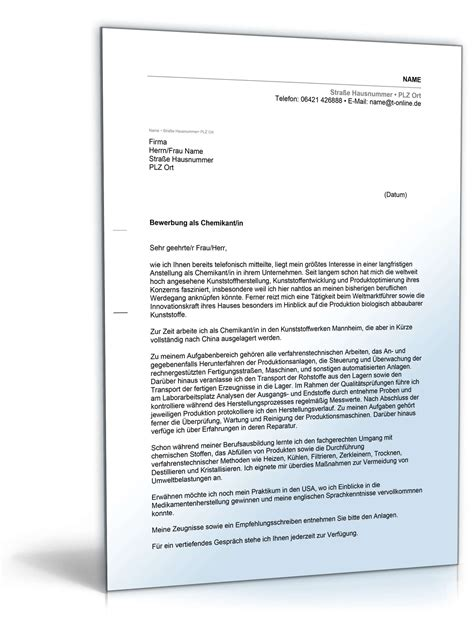 Anschreiben Ausbildung Chemielaborant Anschreiben Bewerbung Chemikant Muster Zum