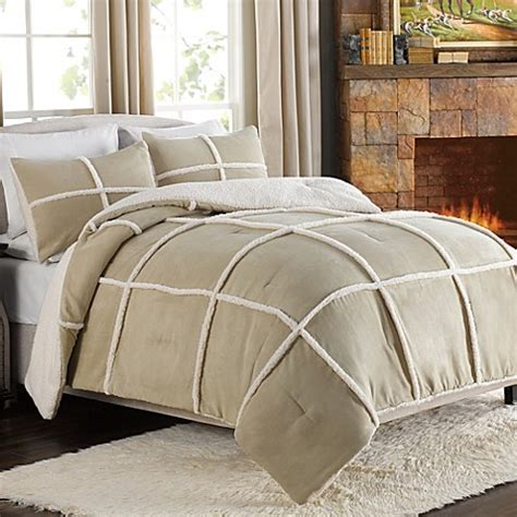sherpa comforter king stowe microsuede to sherpa reversible comforter and sham