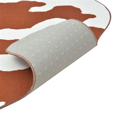brown cow print rug vidaxl shaped rug 70x110 cm brown cow print vidaxl co uk