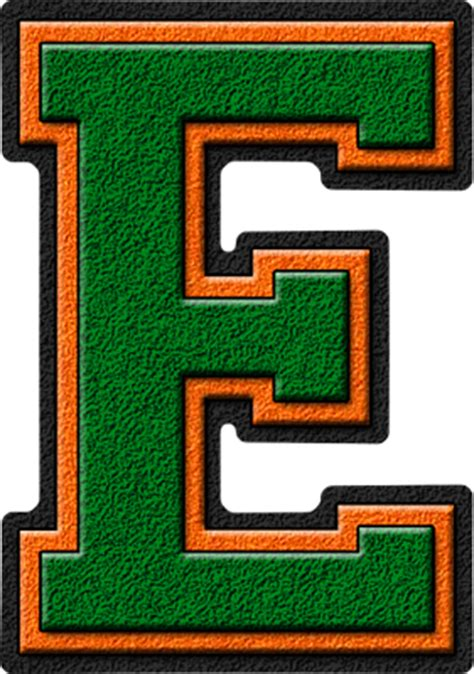 the w h o l e books presentation alphabets green orange varsity letter e