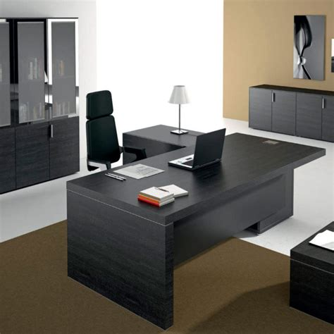 premium modern executive office desk black leather contemporary table ambience dor 233