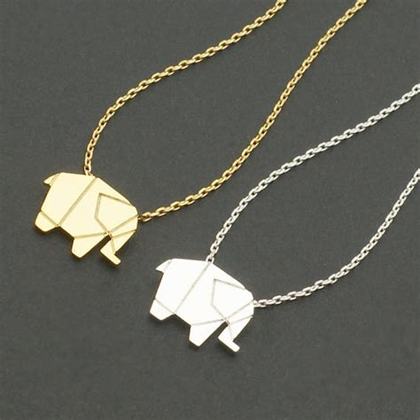 Origami Necklace - origami elephant geometric origami animal elephant