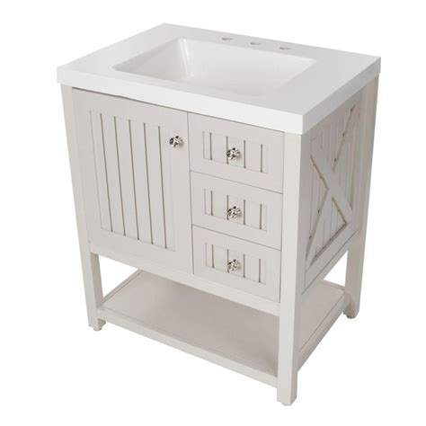 Country White 30 Inch High Martha Stewart Living Seal Harbor 30 1 4 In W Bath Vanity In Sharkey Gray With Vanity Top In