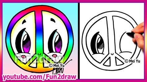 Fun2draw Drawings rainbow peace sign how to draw easy fun2draw