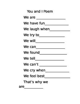 Friendship Poem Template You And I Poem By Suzanne Graff Tpt Poem Template