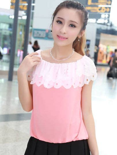 Sweet Pink Blouse sweet pink ruffles color block boat neck sleeve blouses