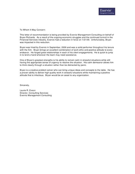 Letter Of Recommendation Exervio Director Consulting Recommendations Template