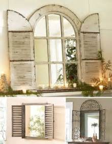 Shutter Blinds For Windows Decor Vintage Window Shutter Decor Wooden And Metal Window Mirrors Wooden Mirrors Frames With