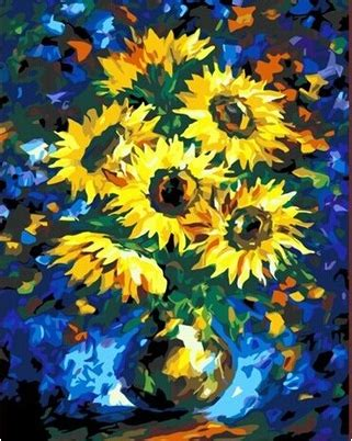 acrylic paint jakarta abstract sunflower paintings promotion shop for