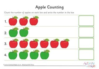 Apple Counting Worksheet by Food And Drink Maths Worksheets