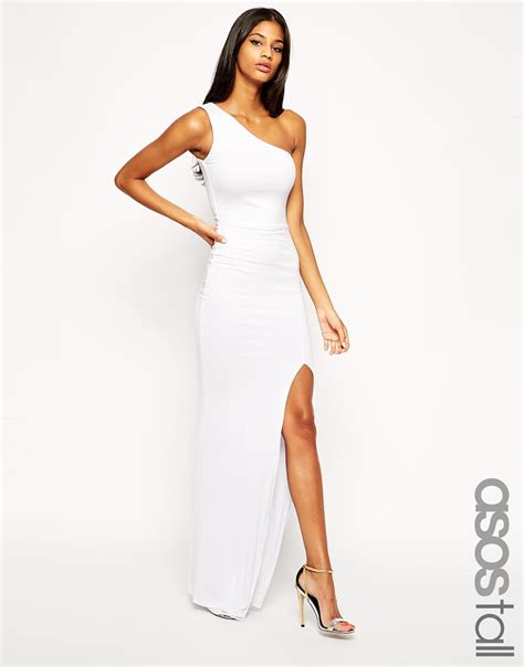 Lord Highneck Bodycon Dress lyst asos exclusive one shoulder maxi bodycon dress in white