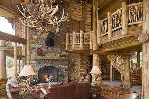 Ranch Style House Plans With Walkout Basement by Tucker Ranch Custom Log Home Rustic Living Room