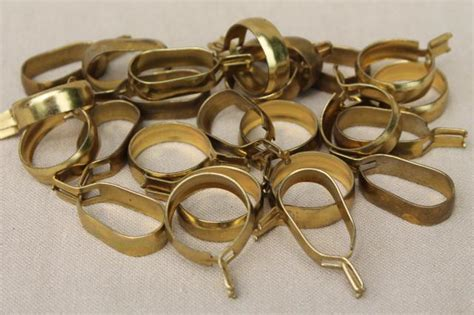 cafe curtain clips vintage solid brass curtain rings oval round curtain