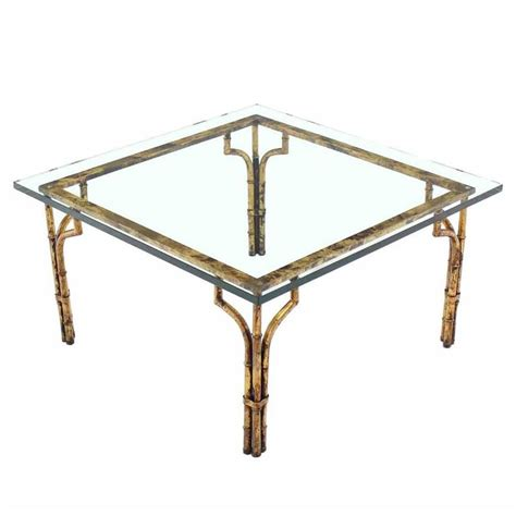 gilt metal faux bamboo thick glass top square coffee table
