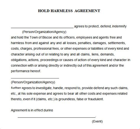 hold harmless agreement 7 free pdf doc download
