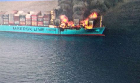 yacht kanga fire ultra large container ship maersk honam major fire update
