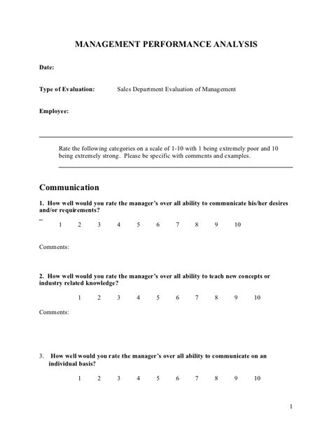 Manager Evaluation Form Management Evaluation Form Template