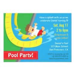 summer water slide birthday pool invitation 4 5 quot x 6 25 quot invitation card zazzle