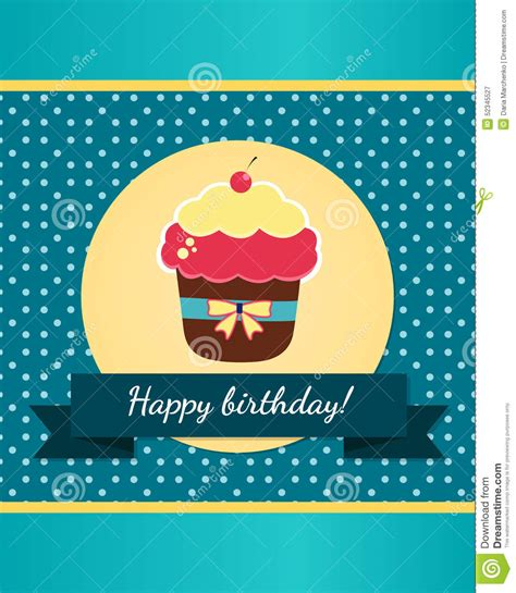 free pretty birthday card template happy birthday card template stock vector image 52345527