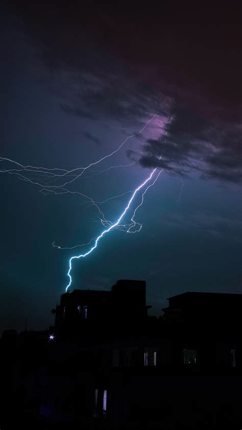 lightning thunderstorm clouds overcast night wallpaper