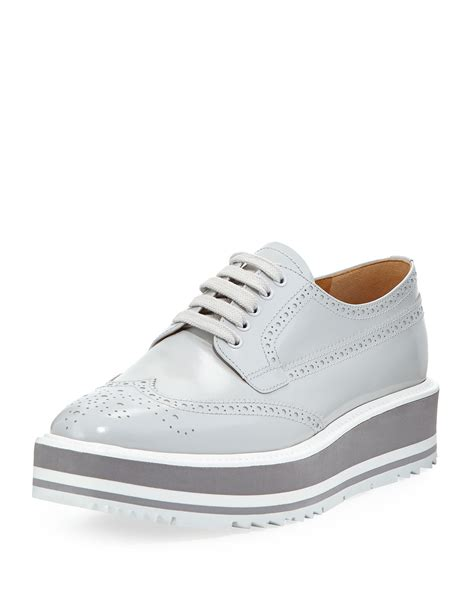 Prada Lightly Sneakers Import prada platform brogue trim leather oxfords in gray lyst