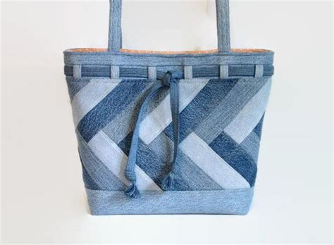 Denim Patchwork Bag - large denim blue jean tote bag denim patchwork shoulder