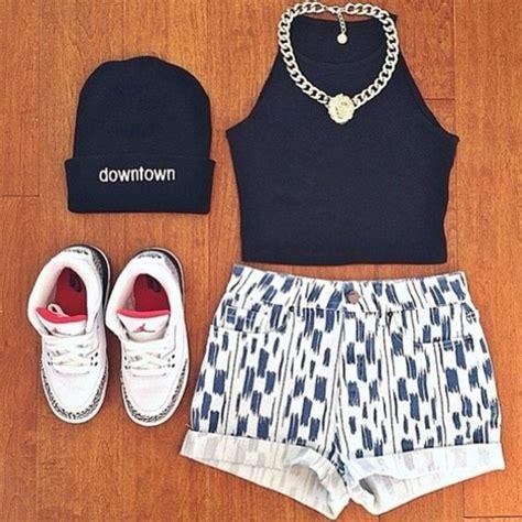 T Shirt Nike Swag Air t shirt shorts vintage blue and white jordans downtown beanie shoes hat shirt jewels