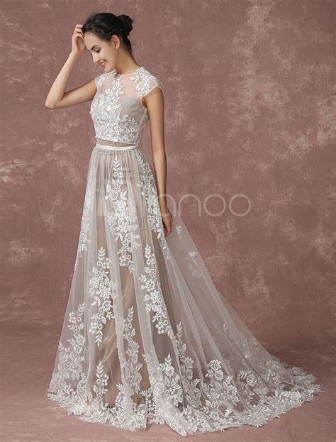 Wedding Lace Sleeveless Dress lace wedding dress 2 pieces bridal gown lace shrug
