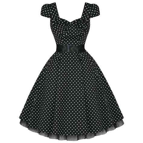 rockabilly swing ladies womens new black white polka dot 50s rockabilly
