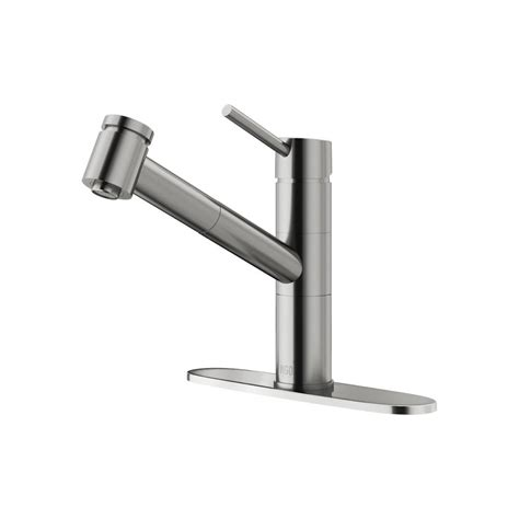 Kitchen Faucets Stainless Steel Pull Out Vigo Branson Single Handle Pull Out Sprayer Kitchen Faucet With Deck Plate In Stainless Steel